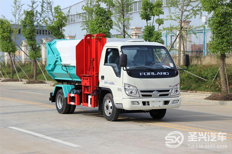 福田时代4方侧装挂桶垃圾转运车